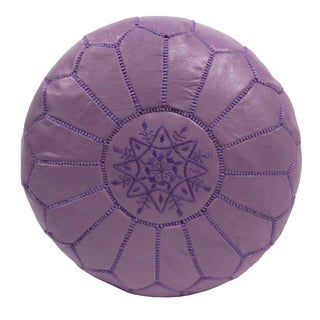 Embroidered Leather Pouf in Violet