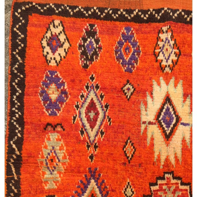 "A Very Old Fine and Rare Vintage Orange Moroccan Azilal Rug - 4'2"" X 10' - Image 5 of 5"