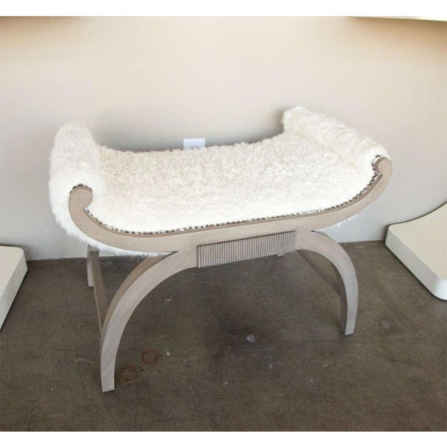 Customizable Paul Marra Neoclassical Bench in Curly Goat - Image 2 of 8