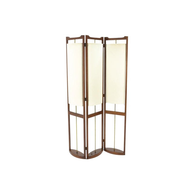 Three Panel Walnut Folding Lamp Room Divider - Image 1 of 7