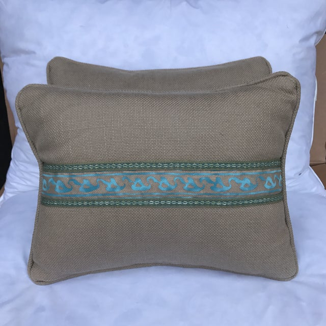 Transitional Fortuny Blue & Metallic Gold Pillows - A Pair - Image 2 of 5