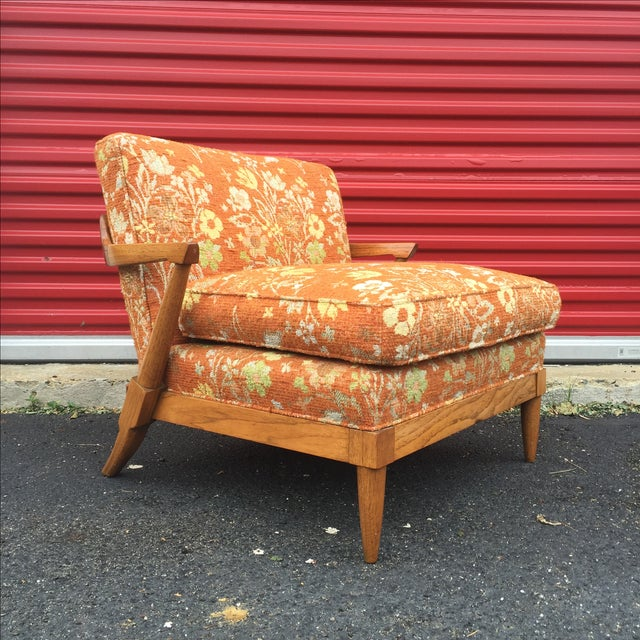 Mid-Century Orange Floral Lounger - Image 2 of 10