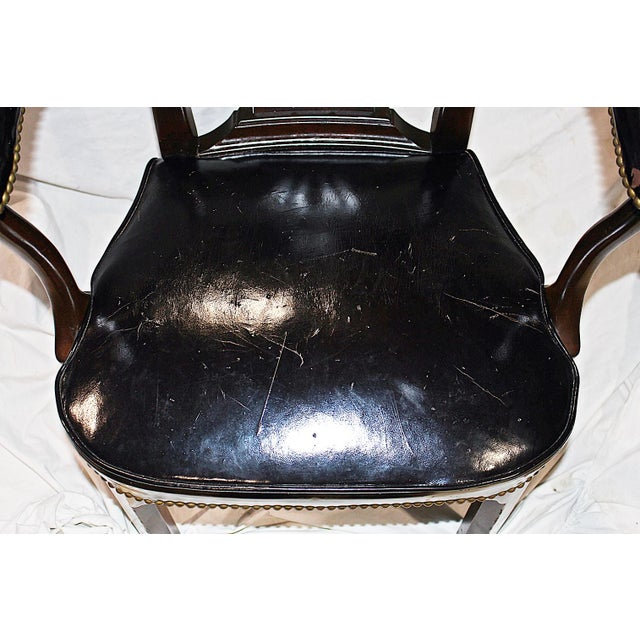 Leather Lyre-Back Lawyer Chairs - Pair - Image 8 of 9