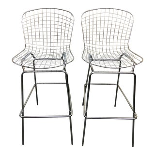 Bertoia Style Bar Height Bar Stools - A Pair