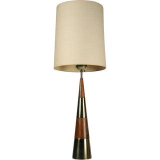 Tony Paul for Westwood Conical Wood & Brass Table Lamp