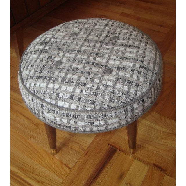 Image of Reupholstered Blue Faux Fur Mid-Century Footstool