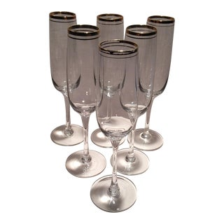 Vintage Crystal Gold Rim Champagne Glasses - Set of 6