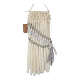 Handwoven Cream, Gray & Pale Blue Wall Hanging