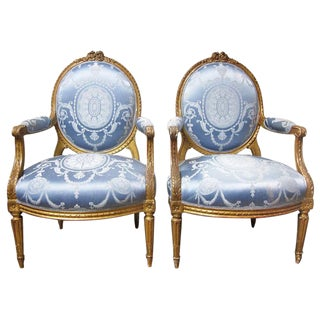 Pair of French Giltwood Louis XVI Style Fauteuils