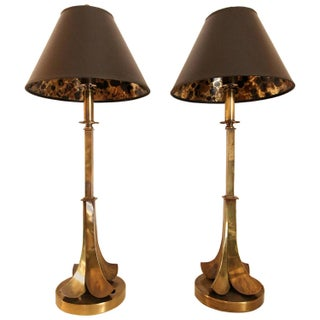 Rare Aged Brass Table Lamps by Hart Associates