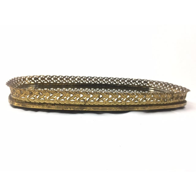 Image of Vintage Filigree Decorative Tray With Mirror Base