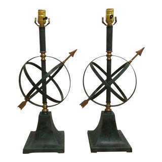 Painted Verdigris Finish Armillary Lamps - A Pair