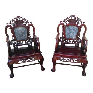 Chinese Carved Solid Rosewood Marble Back Armchairs - a Pair