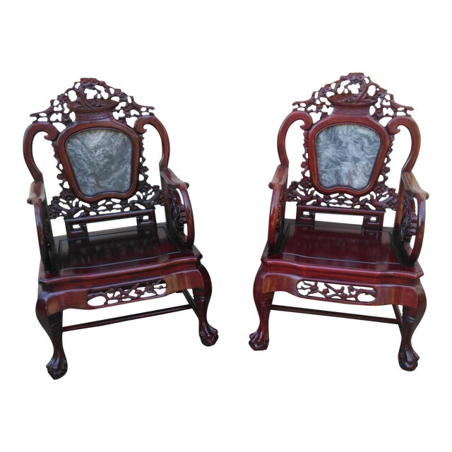 Chinese Carved Solid Rosewood Marble Back Armchairs - a Pair - Image 1 of 9