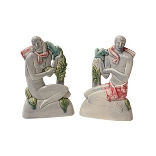 Art Deco Male and Female Sculpture - Pair