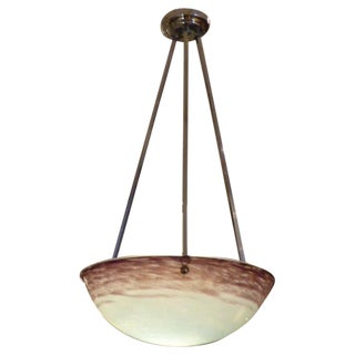 1930's French Pate de Verre Glass Bowl Chandelier