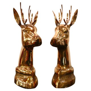 Pair of Brass Elk Head Bookends