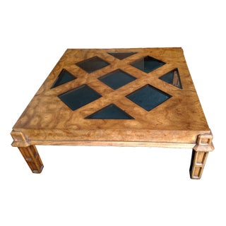 Wood Coffee Table With Smoked Glass Top Insert