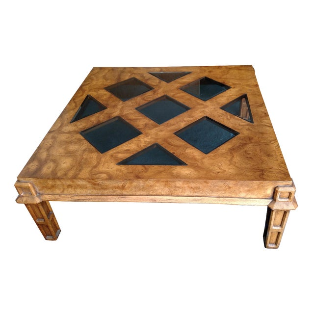 Wood coffee table with smoked glass top insert chairish for Wood coffee table with glass insert
