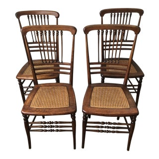 Antique Victorian Stick & Ball Cane Seat Dining Chairs- Set of 4