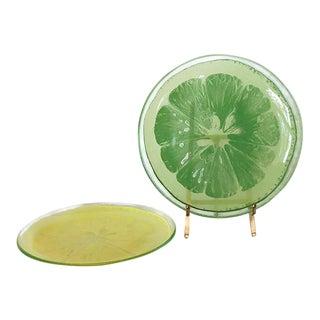 Annie Glass Lemon & Lime Plates - A Pair