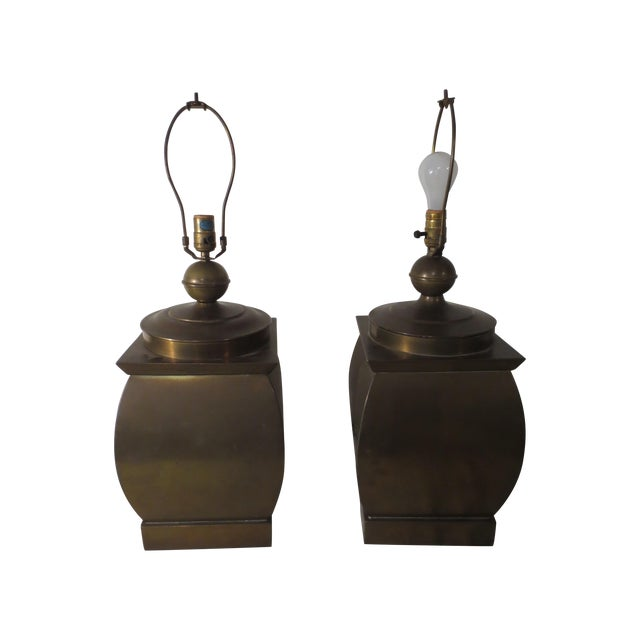 Vintage 60s Pair of Brass Table Lamps - Image 1 of 6