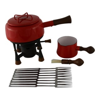 Dansk Kobenstyle Fondue Set and Butter Warmer with Eight France IHG Fondue Forks