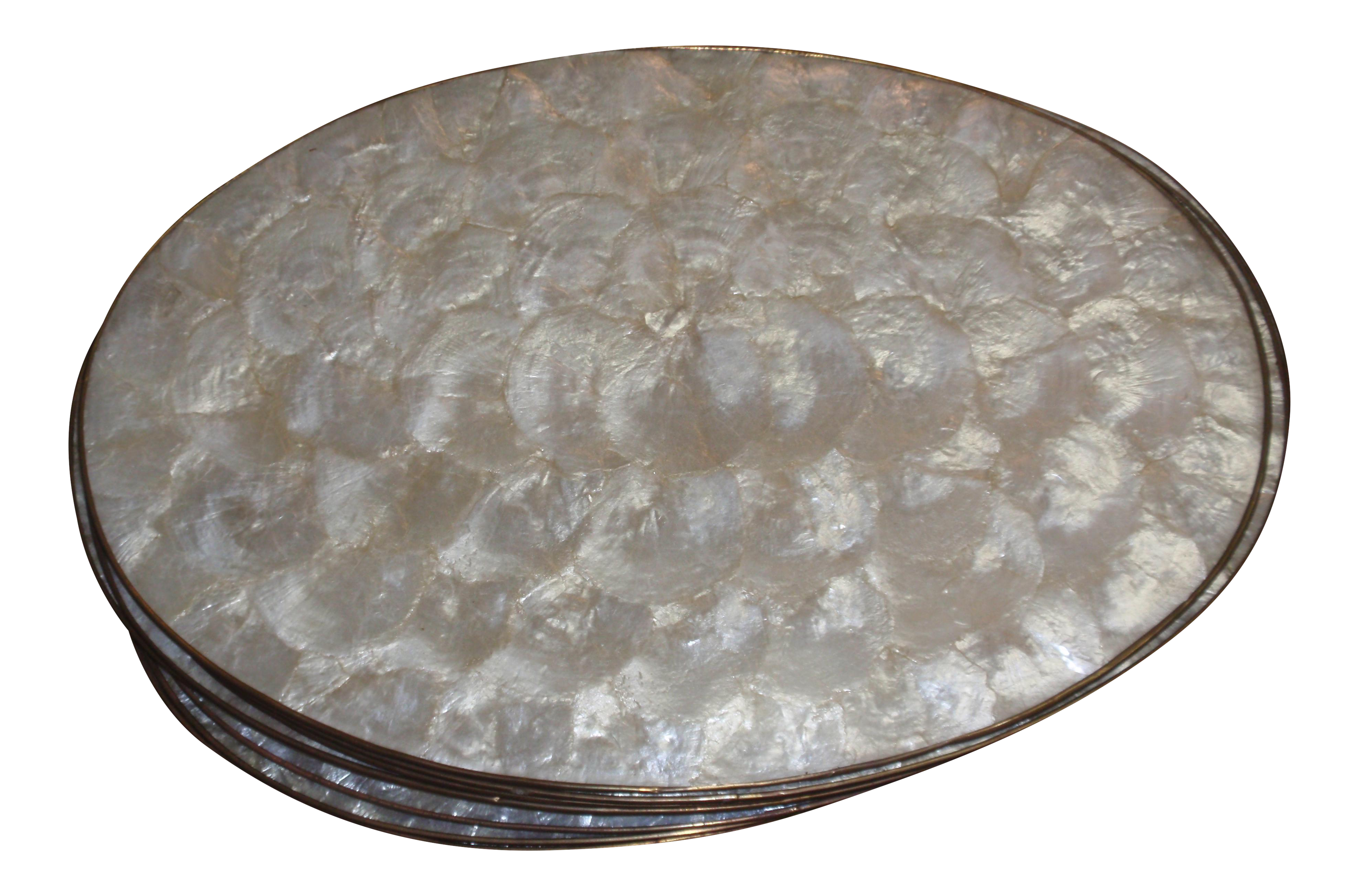 Vintage Capiz Shell Oval Placemats   Set Of 14