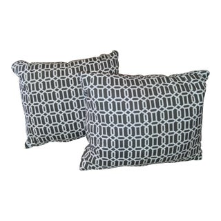 White & Charcoal Geometric Pillows - A Pair