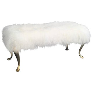 Mongolian Fur and Brass Bench or Footstool