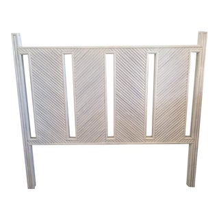 Vintage Rattan Headboard in White Lacquer Finish