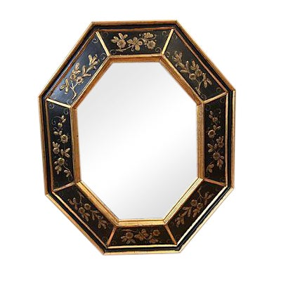 La Barge Vintage Hand Painted Black Gilded Mirror - Image 1 of 8