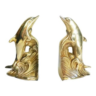 Park Sherman Brass Dolphin Bookends - A Pair