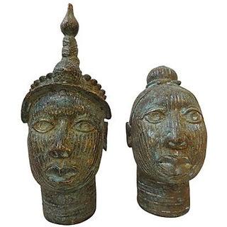 African King & Queen Benin Bronze Heads