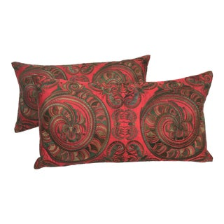 Asian Embroidered Red Silk Dragon Pillows - A Pair