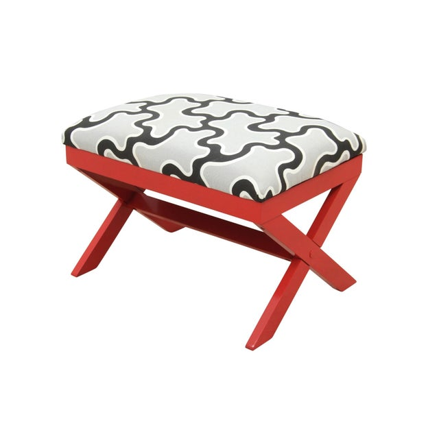 Cumulus Red Curule Bench - Image 7 of 7