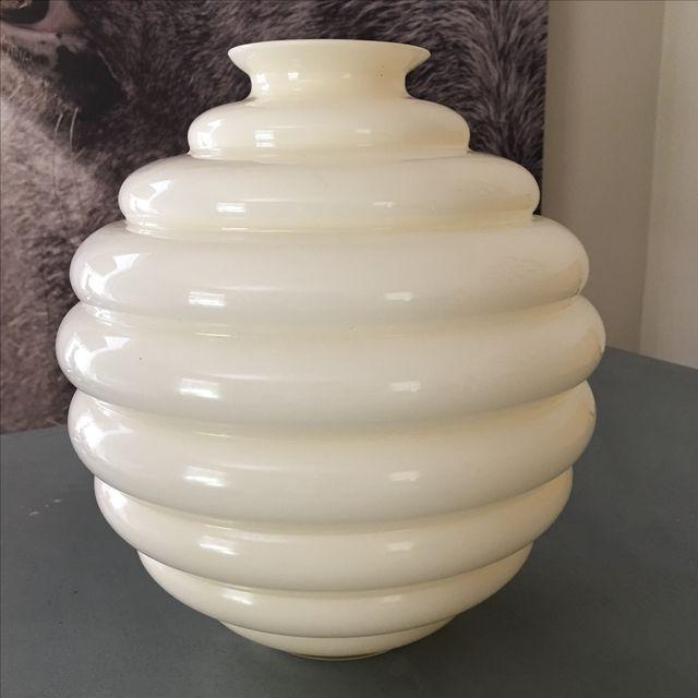 Image of Cream Venini Deco Murano Vase