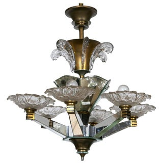 French Art Deco Chandelier Lalique Style Glass