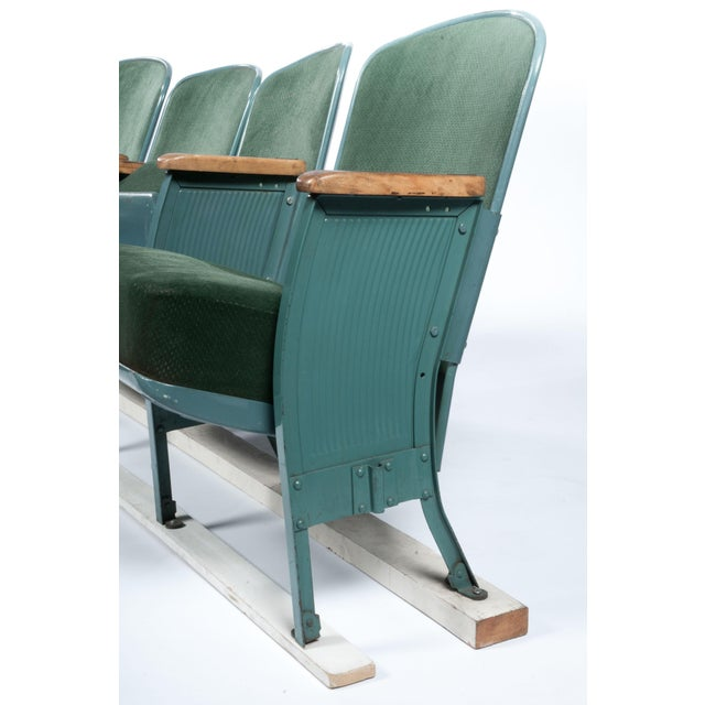 Vintage Velvet Theater Seats in Forest Green - Image 2 of 6