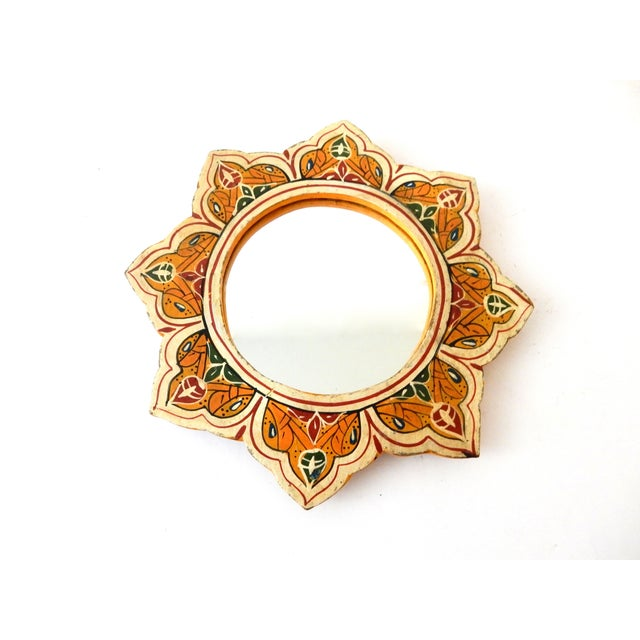 Hand-Painted Moroccan Sunburst Mirror - Image 4 of 5