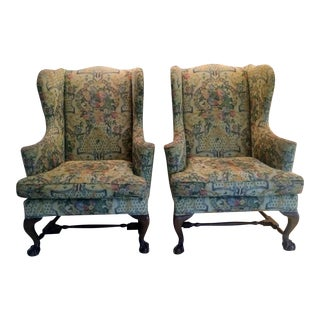 Custom Upholstered French Wingback Armchairs   A PairGently Used   Vintage Queen Anne Furniture for Sale at Chairish. Antique Queen Anne Upholstered Chairs. Home Design Ideas