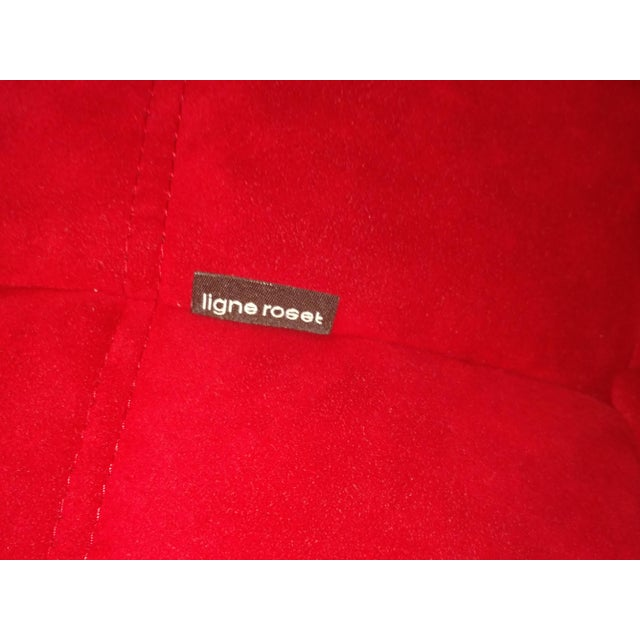 Ligne Roset Togo Red Suede Loveseat Couch - Image 3 of 11
