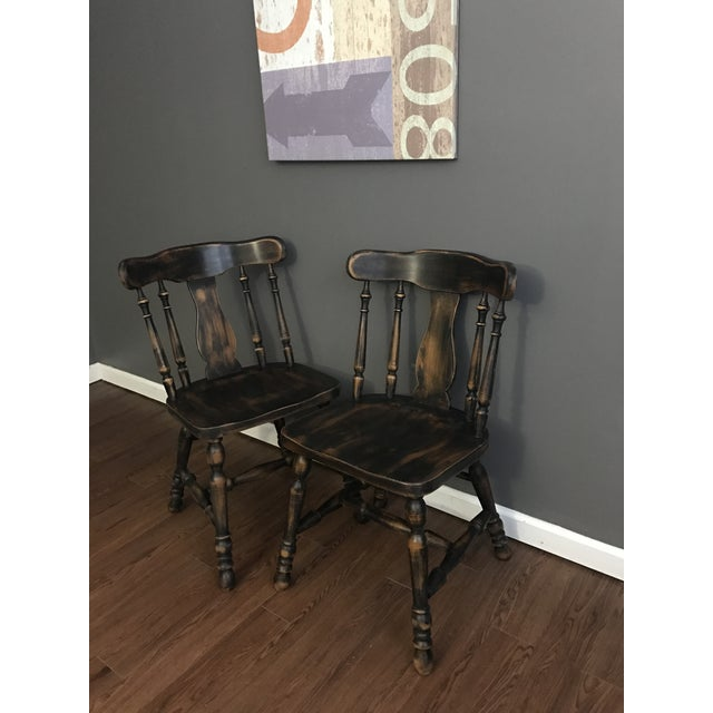 Black Distressed Drop Leaf Dining Table & Chairs - Set of 3 - Image 8 of 11