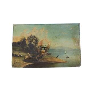 Antique Sea & Sailboat Oil Painting
