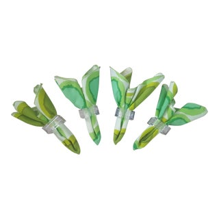 Mid Century Cubed Lucite Napkin Rings & Green Abstract Napkins - Set of 4