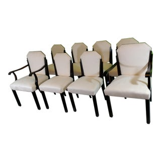 White Suede Deco Dining Chairs - Set of 8