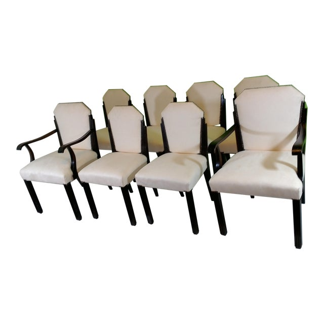 White Suede Deco Dining Chairs - Set of 8 - Image 1 of 11