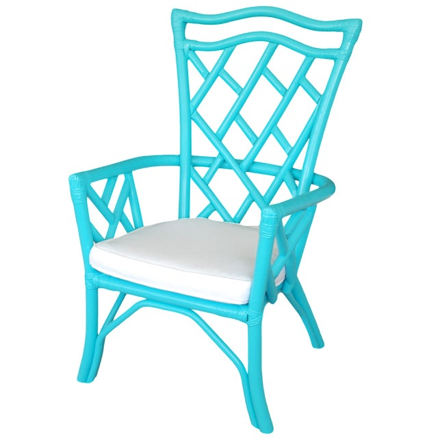 Vintage Rattan Turquoise Chair - Image 1 of 3