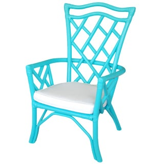 Vintage Rattan Turquoise Chair
