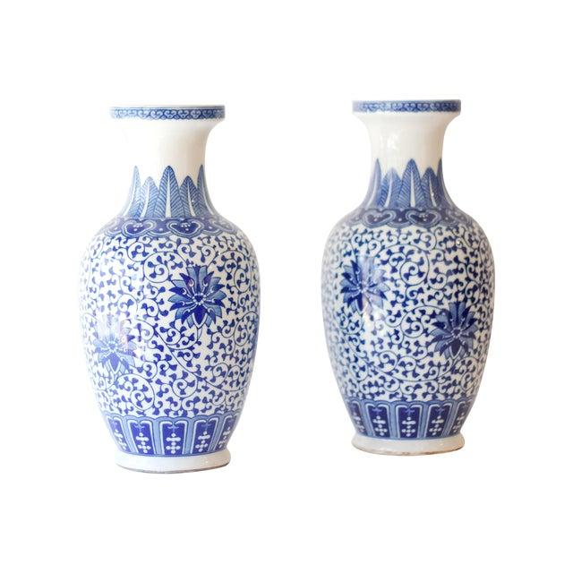 Blue & White Korean Vases - a Pair - Image 1 of 4